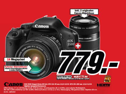 Canon EOS 550D Kit 18-55 mm + 55-250 mm ©Media Markt