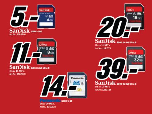 Diverse Speicherkarten (vier bis 32 Gigabyte) ©Media Markt