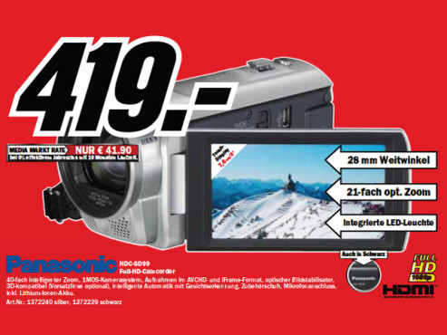 Panasonic HDC-SD99 ©Media Markt