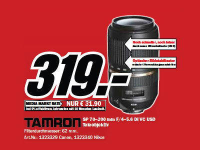 Tamron SP AF 70-300mm f4.0-5.6 Di VC USD (Nikon/Canon) ©Media Markt