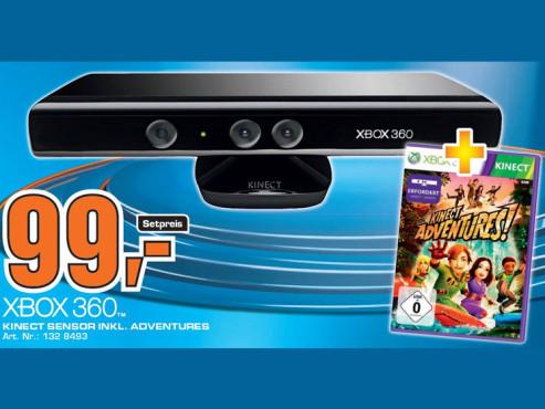 Kinect Sensor mit Kinect Adventures (Xbox 360) ©Saturn
