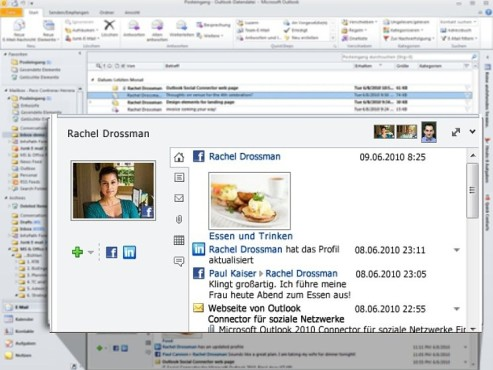 Facebook Integration in MS Outlook ©Microsoft