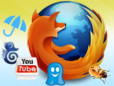 Add-ons für Firefox © Mozilla - Firefox, Ensolis - Forecastfox Weather, Alactro LLC - Easy YouTube Video Downloader, Parakey - Firebug, David Cancel - Ghostery, Nightlight Productions - FireFTP
