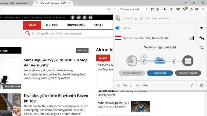 AnonymoX für Firefox ©COMPUTER BILD