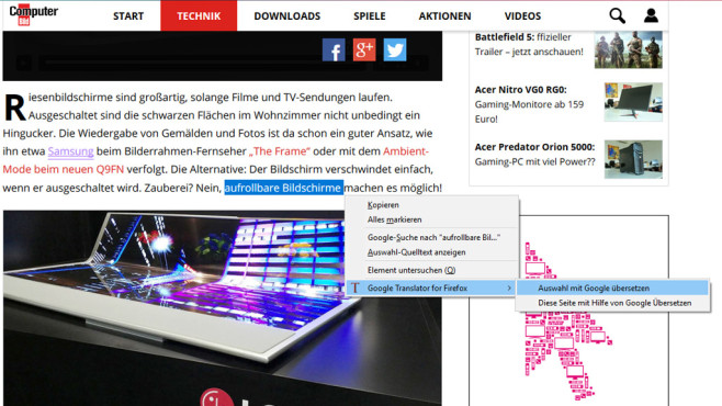 Google Translator für Firefox ©COMPUTER BILD