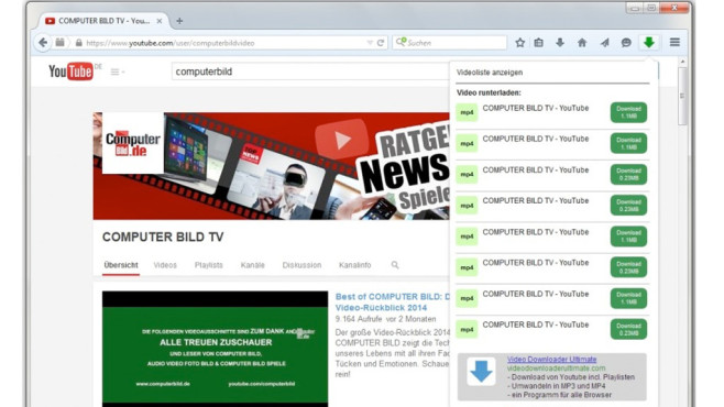 Video Downloader Professional für Firefox © COMPUTER BILD