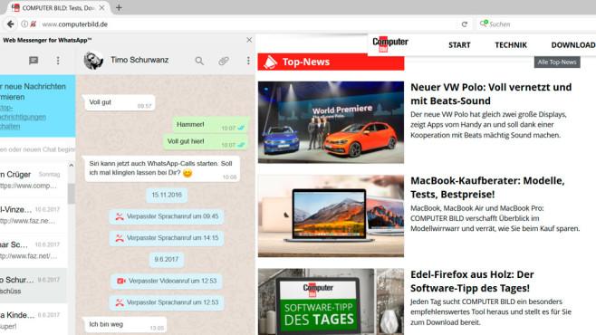 WhatsApp-Web-Messenger für Firefox ©COMPUTER BILD