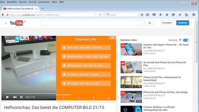 Youtube Video and Audio Downloader © COMPUTER BILD