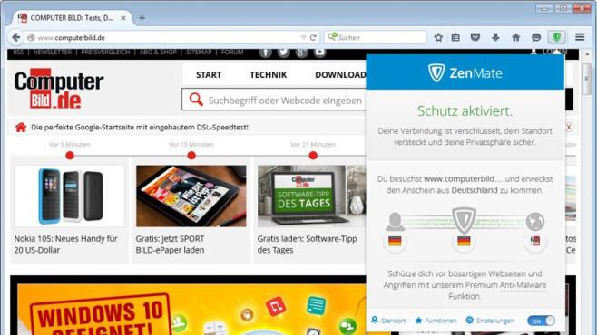ZenMate für Firefox ©COMPUTER BILD
