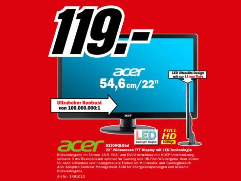 Acer S220HQLBbd ©Media Markt