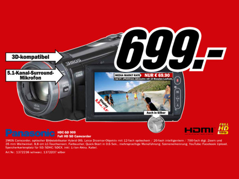 Panasonic HDC-SD909 ©Media Markt