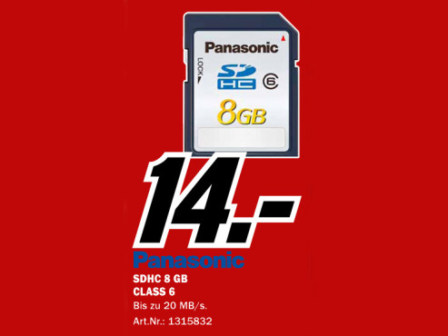 Panasonic SDHC Class 6 ©Media Markt