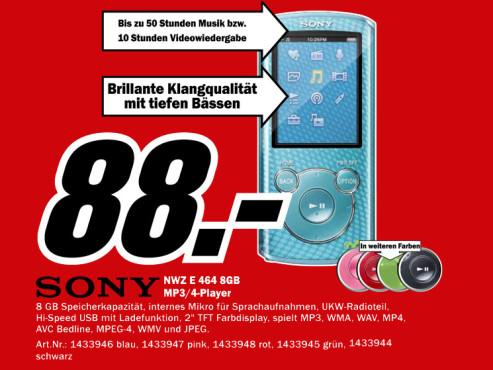 Sony NWZ-E464 ©Media Markt