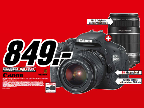 Canon EOS 600D Kit 18-55 mm + 55-250 mm © Media Markt