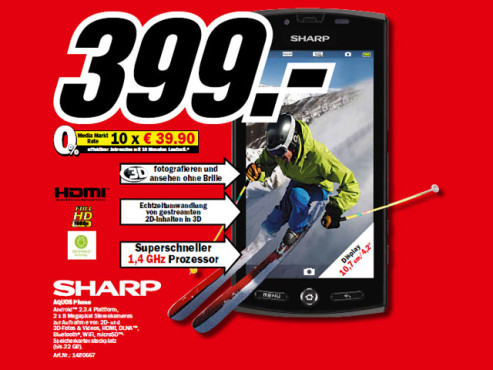 Sharp Aquos Phone (SH-80F) © Media Markt