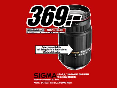 Sigma 18-200mm f3.5-6.3 II DC OS HSM (Canon/Nikon) ©Media Markt