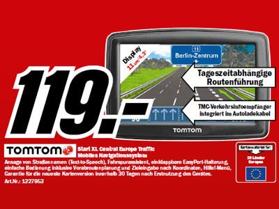 Tomtom Start XL Central Europe Traffic © Media Markt