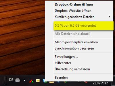 Screenshot Dropbox-Speicher ©COMPUTER BILD