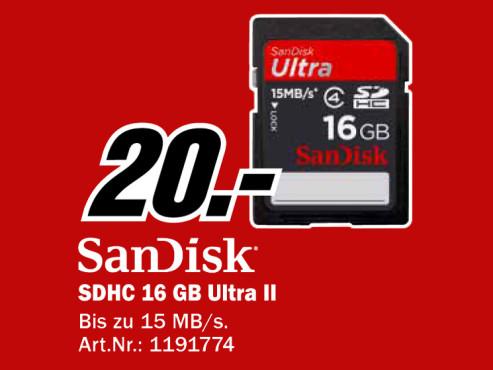 SanDisk SDHC 16GB Ultra II Class 4 ©Media Markt