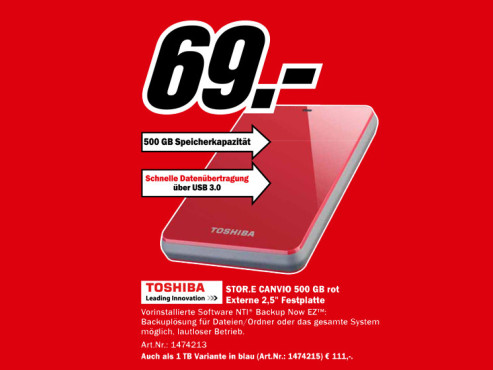 Toshiba StorE Canvio 500GB © Media Markt
