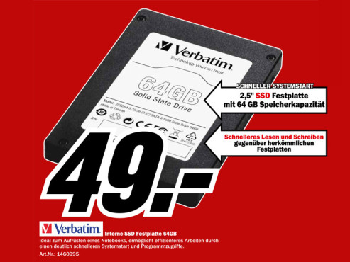 "Verbatim 2,5"" Sata-II SSD Internal 64 GB © Media Markt"