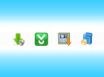 Symbole für verschiedene Download-Wrapper ©Download.com, Softonic, Softonic/RegNow, TucowsDownloads