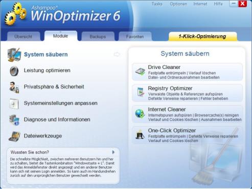 Ashampoo WinOptimizer 6 – Kostenlose Vollversion ©COMPUTER BILD