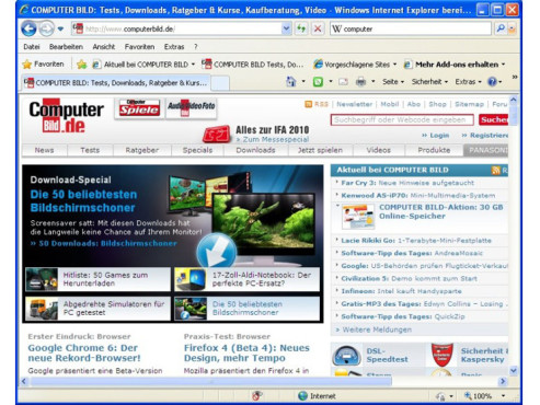 Internet Explorer 8 (Windows XP) © COMPUTER BILD