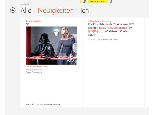 Social-Media-App in Windows 8 © COMPUTER BILD
