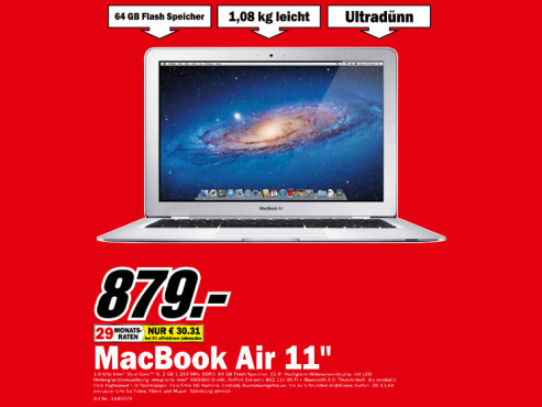 Apple MacBook Air 11 Zoll (MC968) © Media Markt