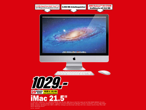 "Apple iMac 21,5"" (MC309)  Apple iMac 21,5"" (MC309) ©Media Markt"