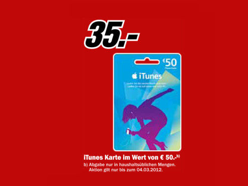 Apple iTunes-Karte © Media Markt