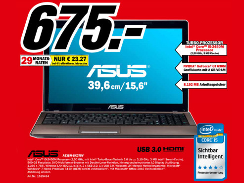 Asus A53SM-SX075V ©Media Markt