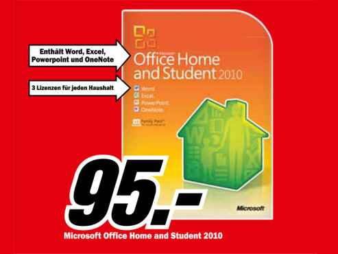 Microsoft Office Home and Student 2010 ©Media Markt