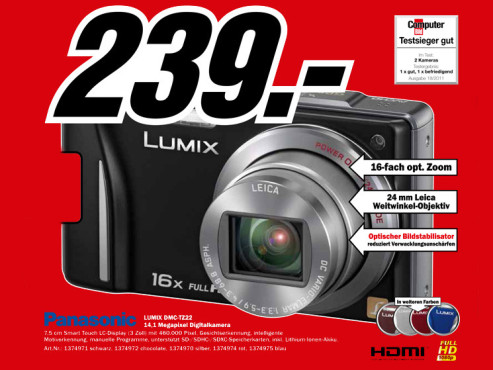 Panasonic Lumix DMC-TZ22 ©Media Markt