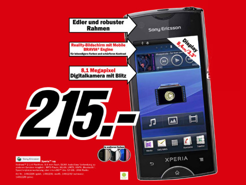 Sony-Ericsson Xperia ray © Media Markt