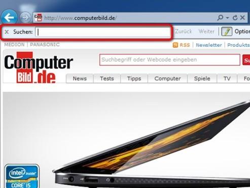 Suchfeld im Internet Explorer ©MIcrosoft