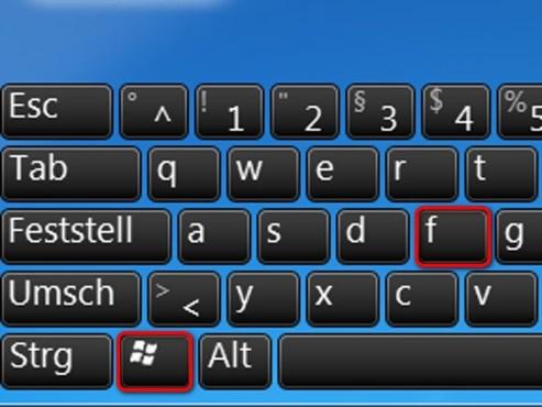 Suchfunktion für Windows ©Microsoft
