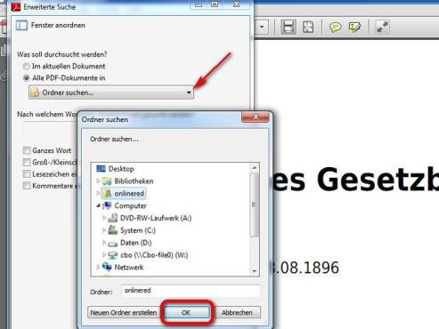 Wählen Sie den Speicherort Ihrer PDF-Dokumente ©Adobe
