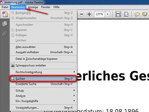 Öffnen Sie die Suche im Adobe Reader ©Adobe
