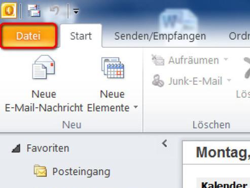 Schritt 1 ©Microsoft Outlook 2010