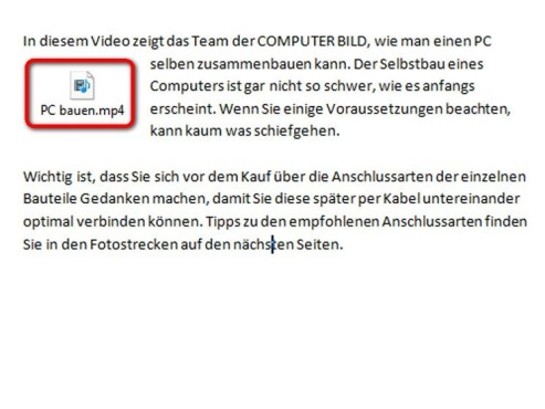 Das Ergebnis: Video umrandet von Text ©Microsoft