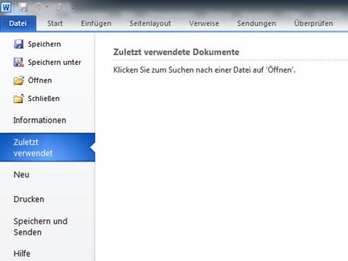 Die Liste zuletzt verwendeter Dokumente ist jetzt leer ©Microsoft