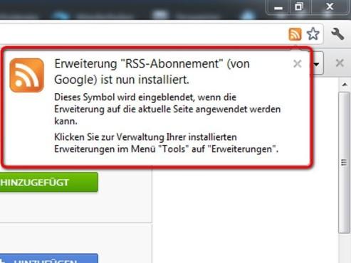 Der RSS-Abonnent ist nun installiert ©Google