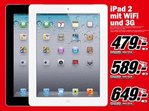 Apple iPad 2 WiFi + 3G – verschiedene Speichergrößen ©Media Markt