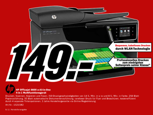 Hewlett-Packard Officejet 6600 e-All-in-One © Media Markt
