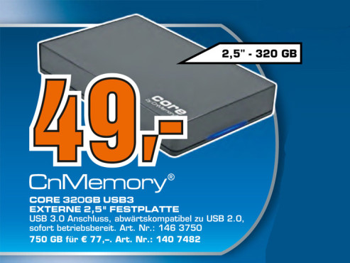 CnMemory Core 320 GB USB 3