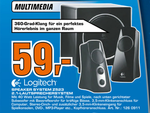 Logitech Speaker-System Z523 2.1-Lautsprechersystem