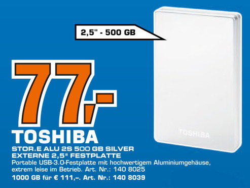 Toshiba Stor.e Alu 2S 500 GB Silver Externe 2,5-Zoll-Festplatte