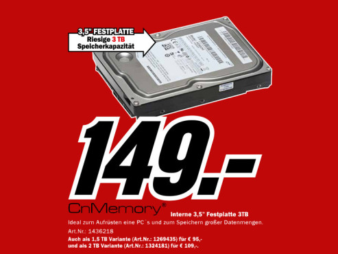 CnMemory Interne HDD 3.5 SATA 3 TB © Media Markt